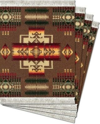 MouseRug Coaster Pads, Pendelton Chief Joseph Khaki 4 pc.