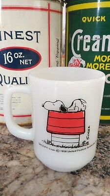 "Vintage Snoopy ""I think I am allergic to mornings"" milk glass mug"