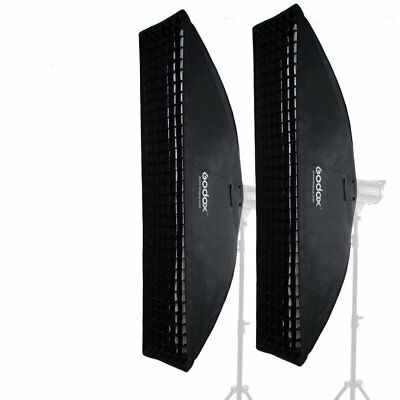 2Pcs Godox 35x160cm Bowens Mount Strip Softbox With Grid For Studio Strobe Flash