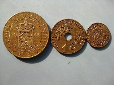Tomcoins-Dutch India 1945 year coins  21/2,1,1/2 cent
