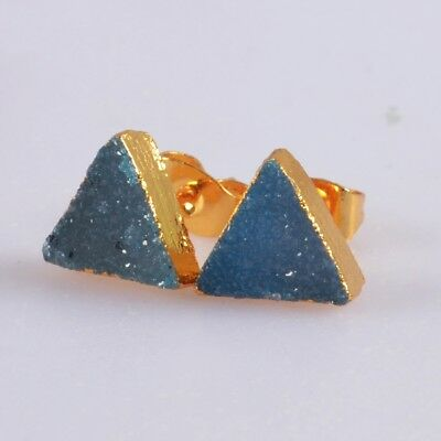 9mm Triangle Blue Agate Druzy Geode Stud Earrings Gold Plated B057946