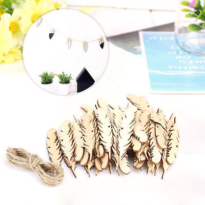 50pcs Uncolored Feather Shaped Cutting Wooden Piece Wood Craft Embelishment+Rope