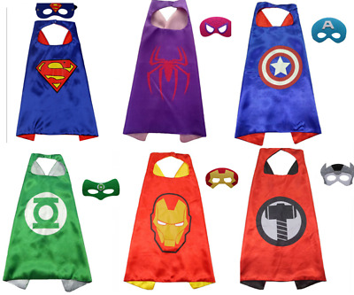 Superhero 1 Cape and 1 Mask Set Costumes Birthday Party For Kids Dress Up