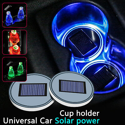 Solar LED 3 Color Cup Holder Powered Car SUV Bottom Pad Mat Cover Trim Lamp UK