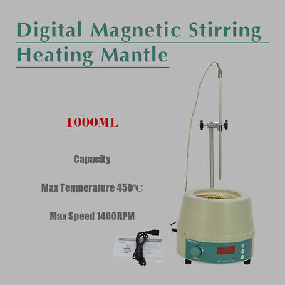 1000ml 0-1400prm Electric Digital LCD Magnetic Stirring Heating Mantle 842℉ 350W