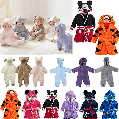 Newborn Baby Kids Winter Pajamas Bathrobe Boys Girls Romper Jumpsuit Sleepwear