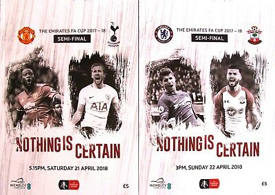 FA CUP SEMI FINAL 2018 BOTH programmes Spurs v Man Utd AND Chelsea v Southampton