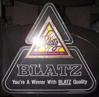 Vintage Blatz Beer Lighted Advertising Bar Sign- Working 1983