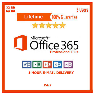 Microsoft Office 2016 Professional Office 365 PC Mac Mobile 5 Users Lifetime