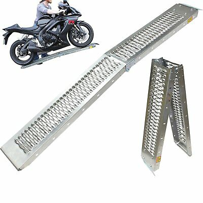 Motorcycle Ramp Bike Loading Transportation Tool Strong Metal Folding Non Slip