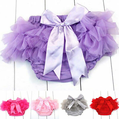 New Baby Infant Girl Cotton Layers Ruffle Bloomer Diaper Nappy Cover Panties Set