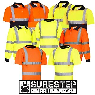 Hi Viz Polo Tee T-Shirts. High Visibility Reflective Safety Work Top |S-3XL|