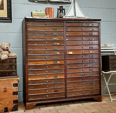 ANTIQUE MAHOGANY CHEST of DRAWERS Bank of Drawers COLLECTOR'S CHEST Cabinet