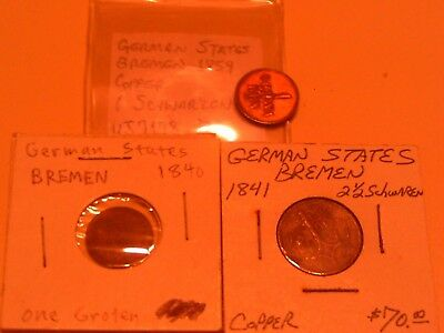 Rare Group Lot 3 German States Coins Bremen 1841 2 1/2 Schwarzen & 1840 Groten
