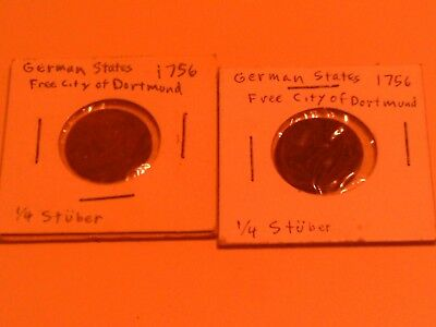 Rare Lot Group 2 German States Coins Free City Of Dortmund (2) 1756 1/4 Stuber