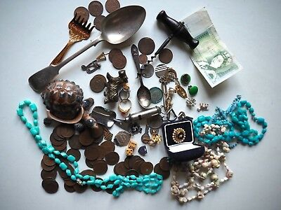 Job Lot of Antique & Vintage Collectables,Coins,Jewellery, Curios,