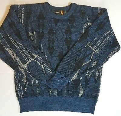 Vtg Sasson 1980's Unisex Sweater Size Med. Matrix Blue Diamond.bill Cosby Style