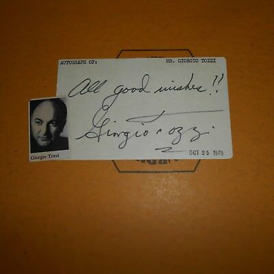 Giorgio Tozzi was an American operatic bass Hand Signed 1979 Index Card