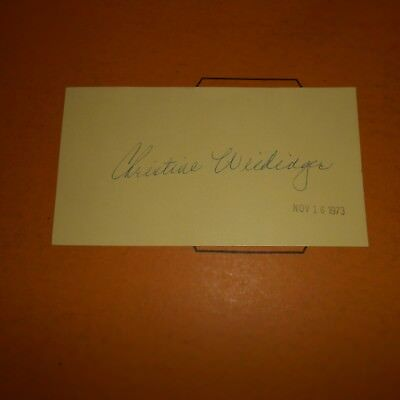 Christine Weidinger is an American operatic soprano Hand Signed 1973 Index Card