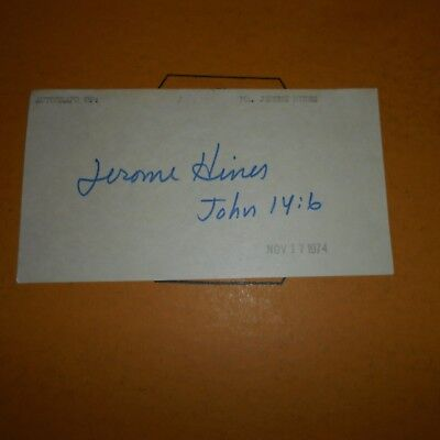 Jerome A. Hines was an American operatic bass Hand Signed Index Card