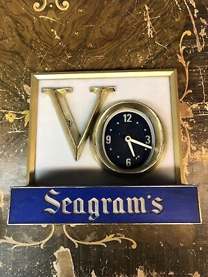 Vintage Seagrams VO Lighted Bar Clock Sign - works!