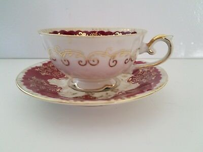 Vintage Old Gold Japan Tea Cup & Saucer White/Red-Maroon/Gold Hand Painted