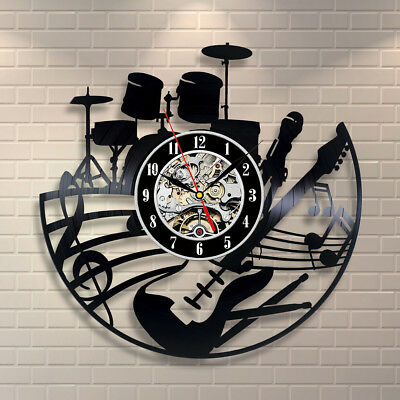 Black Music Musical Instruments Player Drums Vinyl Record Wall Clock Decor Art