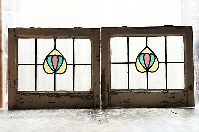Pair of Antique Stained Glass Windows Three (3) Color Art Nouveau Tulips (3107)