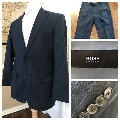 HUGO BOSS Pasolini1/Movie1 Wool Suit Gray Stripes 40R Pants 35x30