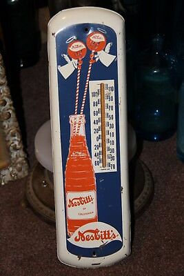 NESBITTS ORANGE SODA thermometer sign tin metal not coke nehi CA Nesbitt's