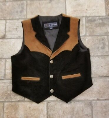 Roper Boys Girls Size 12 XL Brown and Black Suede Genuine Leather Vest Western