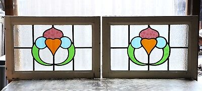 Large Pair of Antique Stained Glass Windows Four (4) Colors of glass (3109)