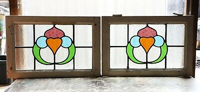 Large Pair of Antique Stained Glass Windows Four (4) Colors of glass (3110)