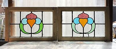 Large Pair of Antique Stained Glass Windows Four (4) Colors of glass (3111)
