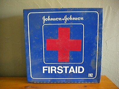 Vintage Blue Metal Johnson & Johnson First Aid Kit #8162 With Orig. Contents