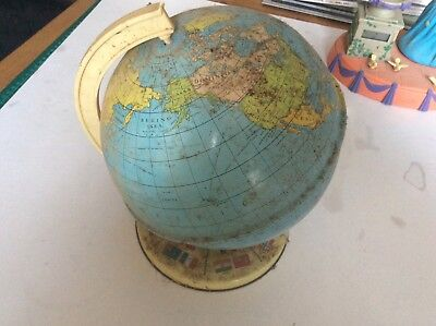 Vintage Chad Valley World Tin Globe 1960s Toy Collectable