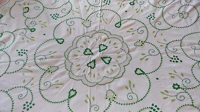 Vintage_Cotton_White_Green_Floral_Openwork_Embroidery_Tablecloth_