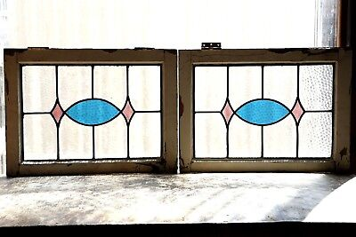 Pair of Antique Stained Glass Windows Two (2) Colors Fantastic Design (3115)