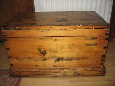 Antique Large Very Solid Pine Chest, Blanket Box or Coffee Table  (ME12)