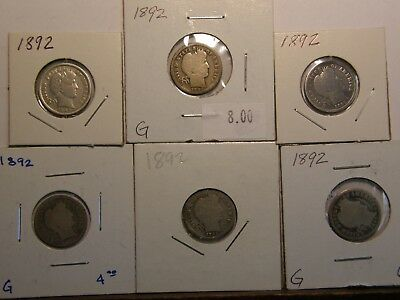 Collection Lot (6) 1892 Barber Silver Dimes - First Year Type