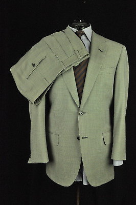 "* Oxxford Clothes ""Gibbons"" Super 110s Light Gray Micro Houndstooth Suit 40R USA"