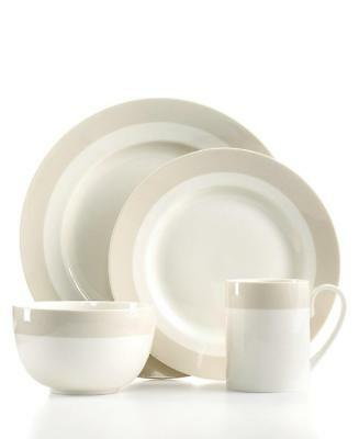 NEW Martha Stewart Collection Dinnerware Classic Band Grey 4 Piece Place Set