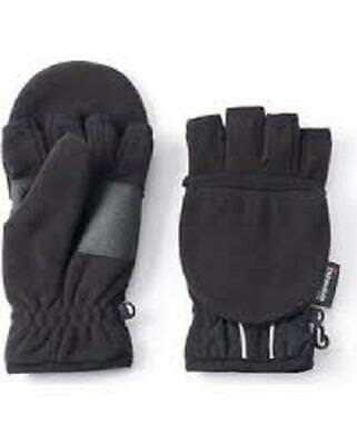 NEW Tek Gear Warm Tek Boy's Black Hybrid Fleece Convertible Gloves, Small (4/7)
