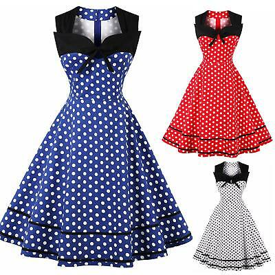 UK Women's Polka Dot Vintage 1950s Style Rockabilly Evening Party Swing Dress