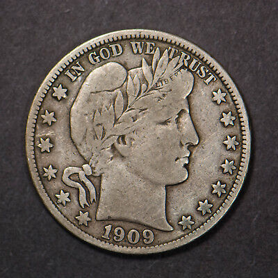 1909-S BARBER 50c SILVER HALF DOLLAR (Lot #173)