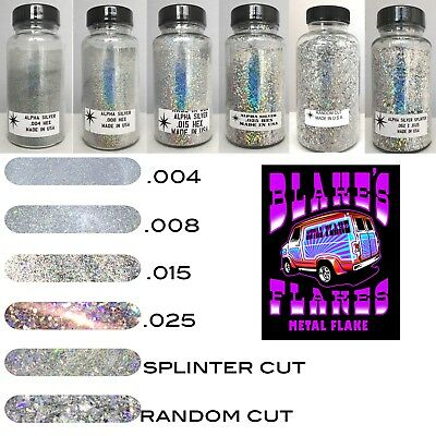 6 Pack Blake's Flakes Metal Flake ALPHA SILVER .004 .008 .015 .025 Prismatic 2oz