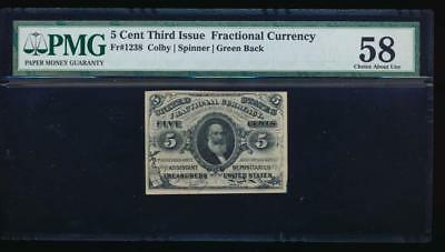 AC Fr 1238 $0.05 1863 fractional 3rd issue PMG 58 green reverse