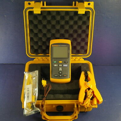 Fluke 52 II Thermometer, Excellent, Screen Protector, Hard Case, Thermocouple