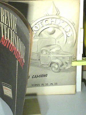 REVUE TECHNIQUE 1954 : CAMIONS HOTCHKISS PL 20/25 : 4CYL ESSENCE 2312cc