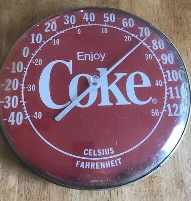 "Vintage Coke Display 12"" Round Wall Thermometer Plastic Face 1984 Original"